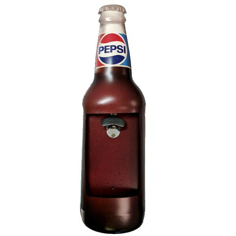 Home - Retro Pepsi Mountable Bottle Shaped Metal Cap Opener And Catcher