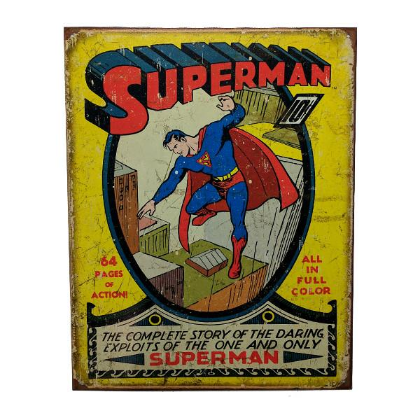 "Home - Retro Superman Comic Book Vintage Collectible Metal Wall Decor Sign - 16"" X 12.5"""
