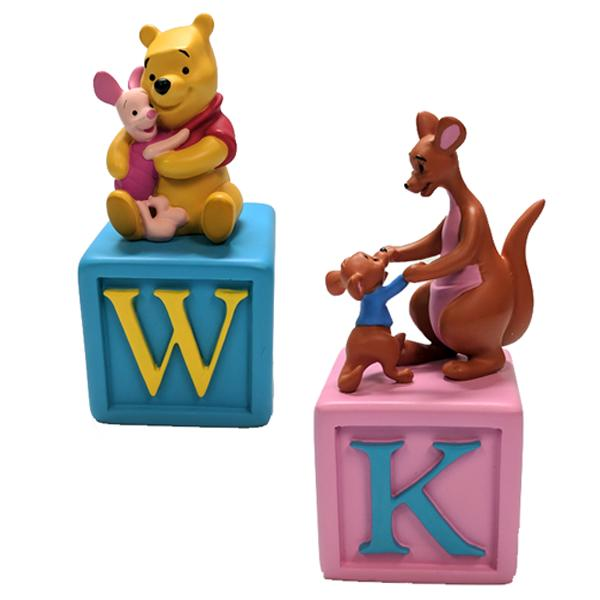 Home - Set Of 2: Winnie The Pooh Alphabet Block Collectible Figurines