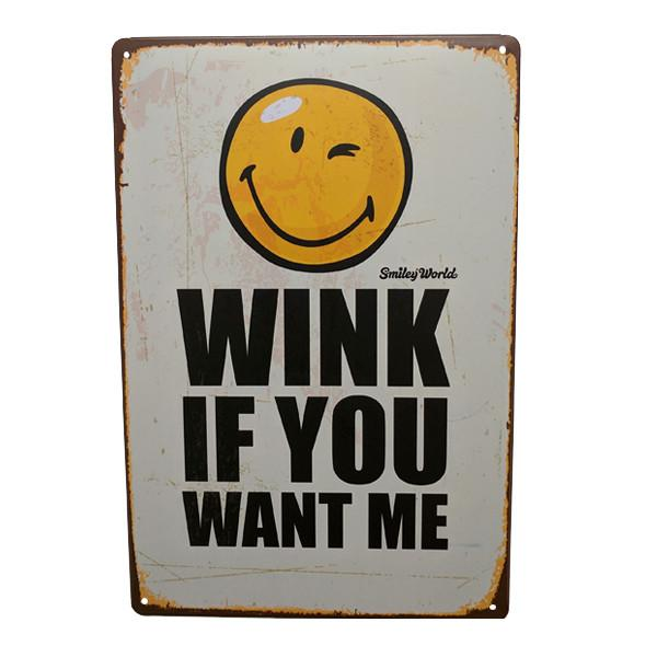 "Home - ""Wink If You Want Me"" Vintage Collectible Metal Wall Decor Sign"
