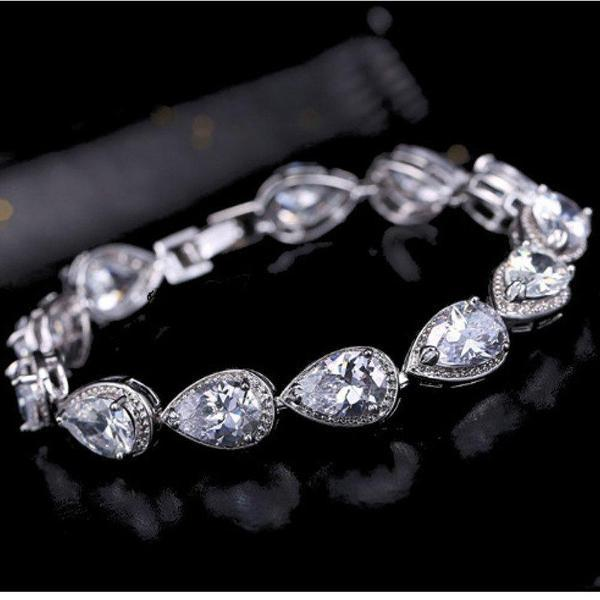 Waterdrop White Gold Plated Zirconia CZ Crystal Lady Bracelet