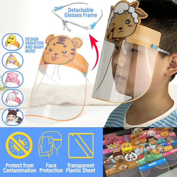 2 Pack: Kids Cartoon Face Shield with Glasses Frame