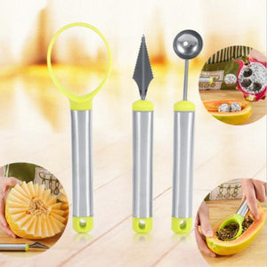 Kitchen - 3 Piece Set: Stainless Steel Fruit Carving Kit