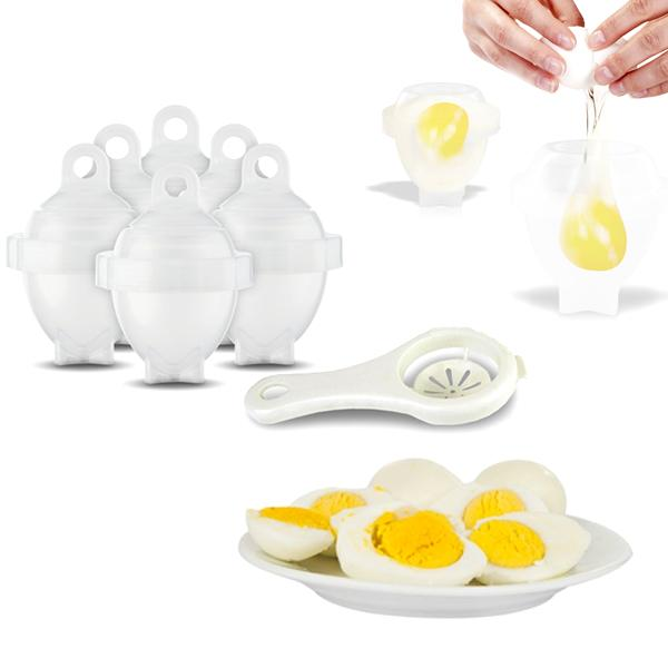 Kitchen - 6 Pack: No-Peel Hard-Boiled Egg Cookers With Bonus Egg White Separator