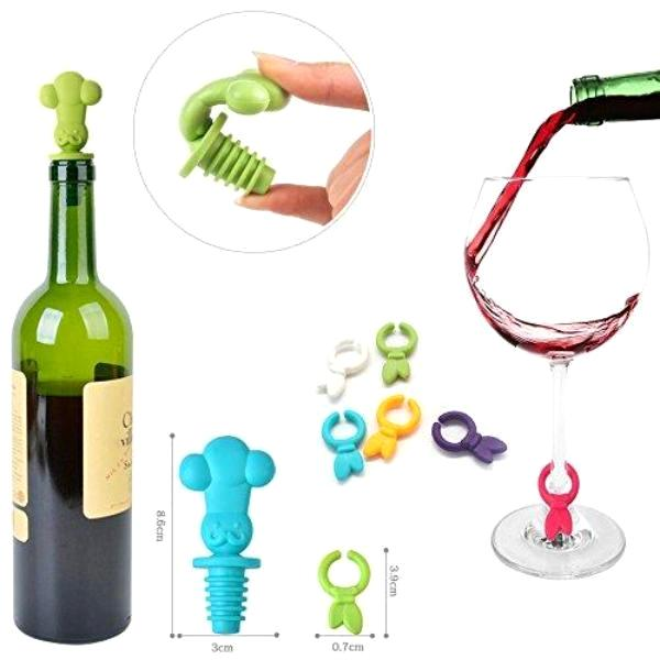 Kitchen - Head Chef: Silicone Bottle Stopper With 6 Drink Marker Charms