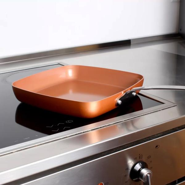 Oven-Safe Square Copper Pan Skillet With Non-Stick Ceramic Coating ...