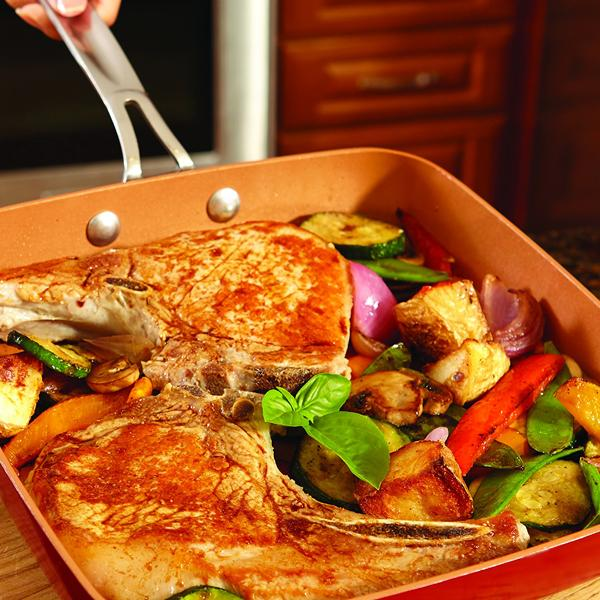 Kitchen - Oven-Safe Square Copper Pan Skillet With Non-Stick Ceramic Coating