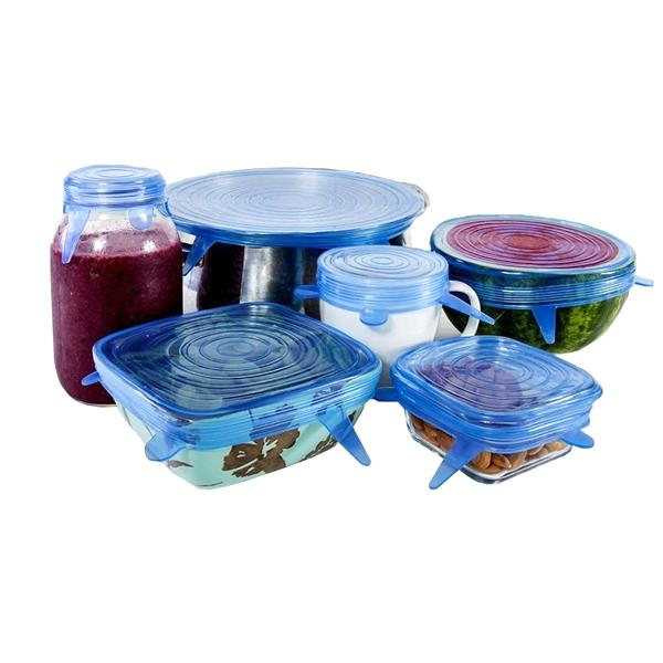 Kitchen - Set Of 6: Super Stretch Silicone Lids - Fits Any Shape Container!