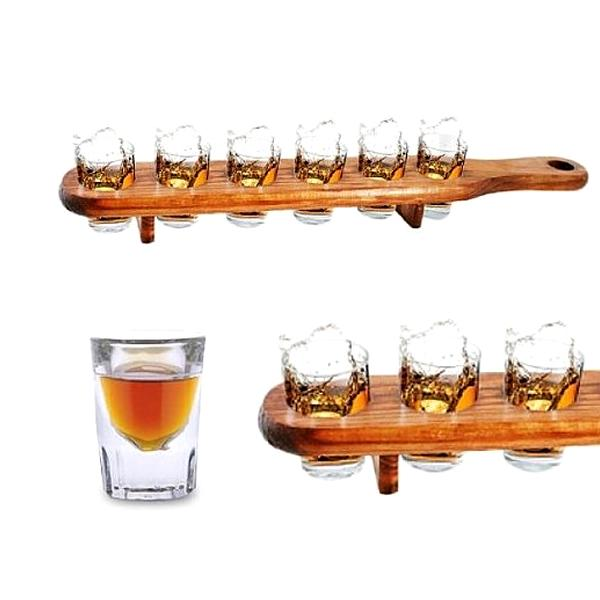 Kitchen - Six Shot Set: Wooden Serving Plank With Glasses
