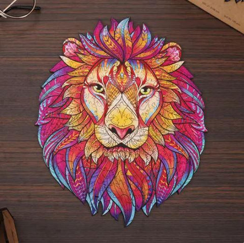 """Mystery Lion"" - Unique Shaped Wooden Jigsaw Puzzles"