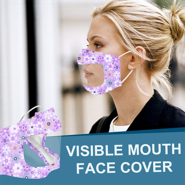 2 Pack: Cotton Fashion Mask with Clear Mouth Panel