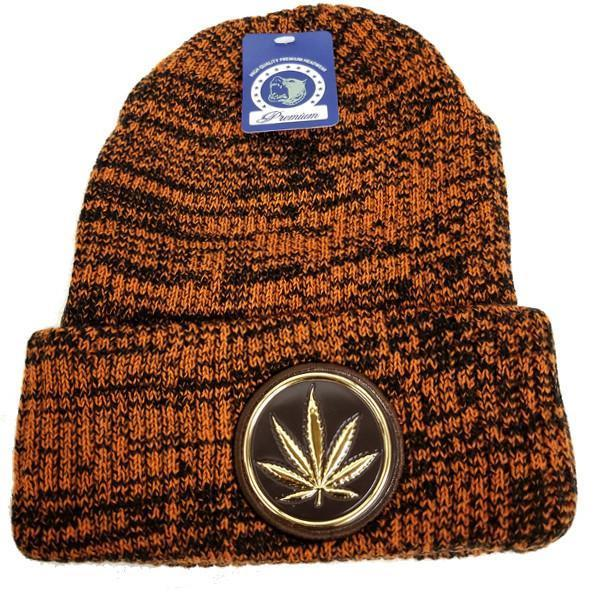 Unisex Beanie Hat With Weed Patch Cannabis Marijuana knitted One Size Fits Most