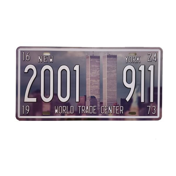 """New York 2001-911 World Trade Center"" Vintage License Plate Wall Decor Sign"