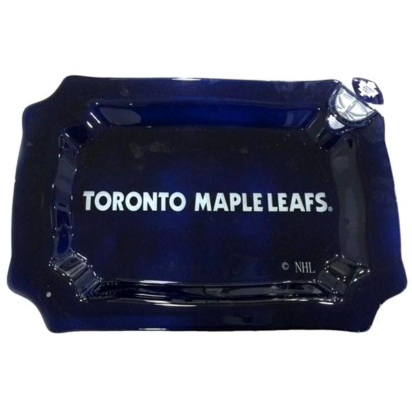 NHL - Toronto Maple Leafs Officially Licensed Glass Rectangle Platter With Helmet Charm