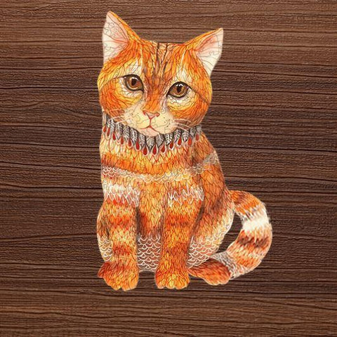 """Mystery Orange Cat"" - Unique Shaped Wooden Jigsaw Puzzles"