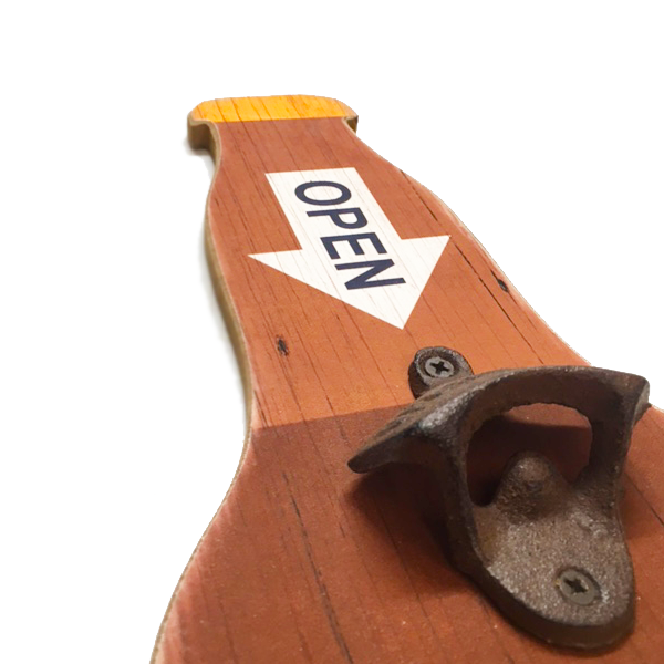 """Open Beer"" Bottle Shaped Wall Mount With Bottle Opener & 1 Pre-Drilled Hole For Easy Hanging"