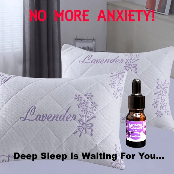 shopify-Lavender Infused Bamboo Pillow with Free 10ml Lavender Fragrance Oil - NO MORE ANXIETY! You'll Sleep Better!-1
