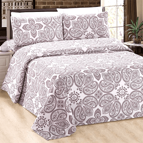 Silky Plush Bamboo Bed Sheet Set - Taupe Paisley