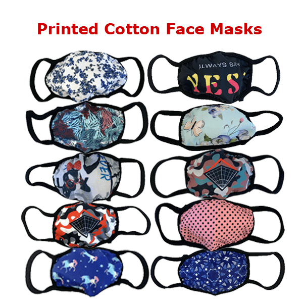 3 Pieces: Printed Cotton Face Mask - Assorted Styles