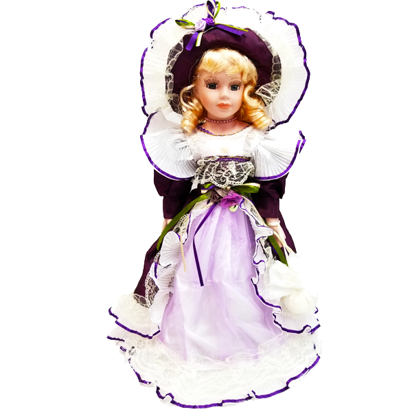 """Blonde In Purple Evening Dress With Olive Green Bow"" Bisque Porcelain Doll"