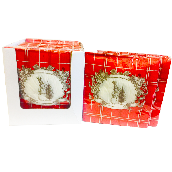 """Snowman Red Checkered Pattern"" Decorative Printed Disposable Table Napkin - Pack Includes 20 Sheets"