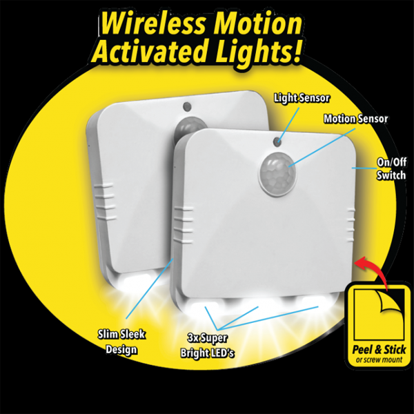 2 Pack: Light & Motion Sensor Activated LED Light