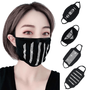 2 Pack: Cotton Shaped Rhinestone Face Mask
