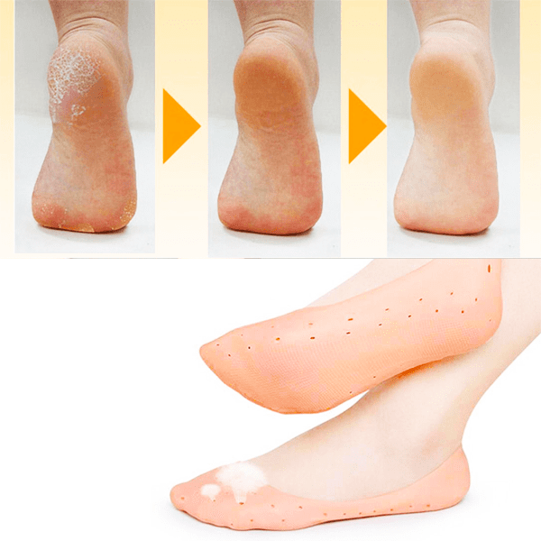 """Unisex Silicone Heel Anti Crack Socks"" Foot Protection With Breathable Holes"