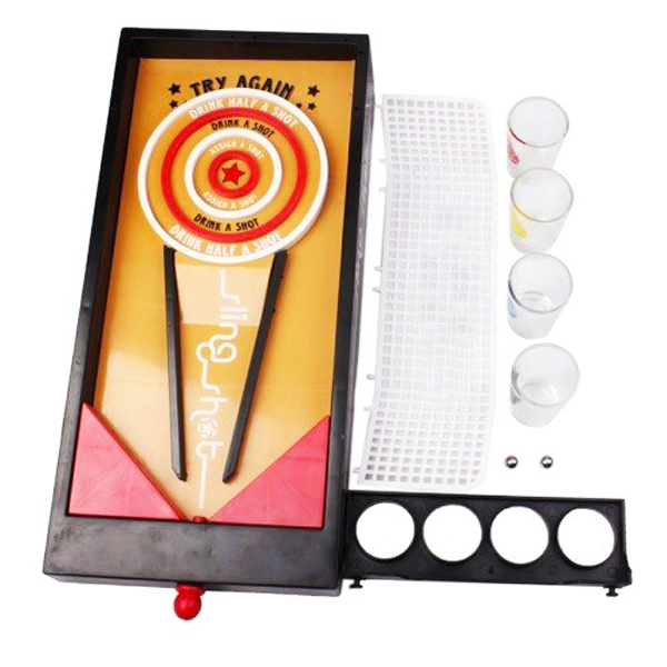 """Fun Drinking Sling Shot Board Game"" Adult Party Celebration Drinking Game Set with 4 Shot Glasses"