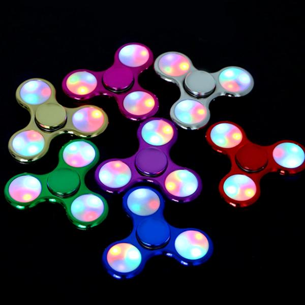 Toys - LED Light-Up Metallic Fidget Spinner With 3 Light Modes!