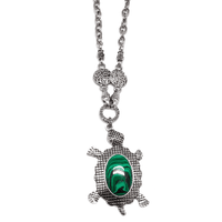 Good Karma Turtle Intricate Chain Statement Necklace - Assorted Colors