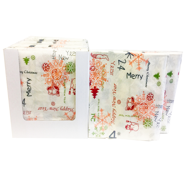"""Merry Christmas and A Happy New Year"" Decorative Printed Disposable Table Napkin - Pack Includes 20 Sheets"