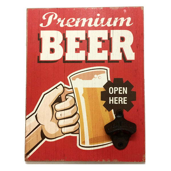 """Premium Beer"" Mountable Rectangle Plaque With  Cap Opener"