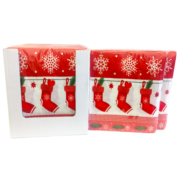 """Red Christmas Stocking"" Decorative Printed Disposable Table Napkin - Pack Includes 20 Sheets"