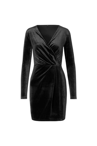 Madena Rewind Velvet Dress Black