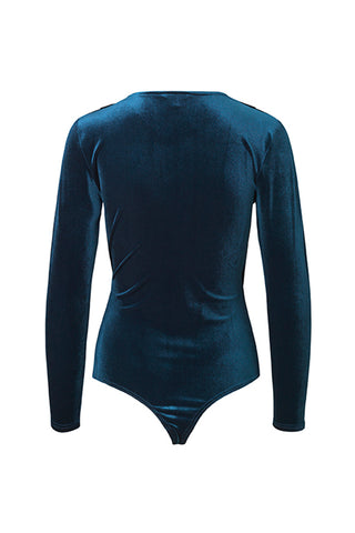 Lione Rewind Velvet Bodysuit Ancient Blue