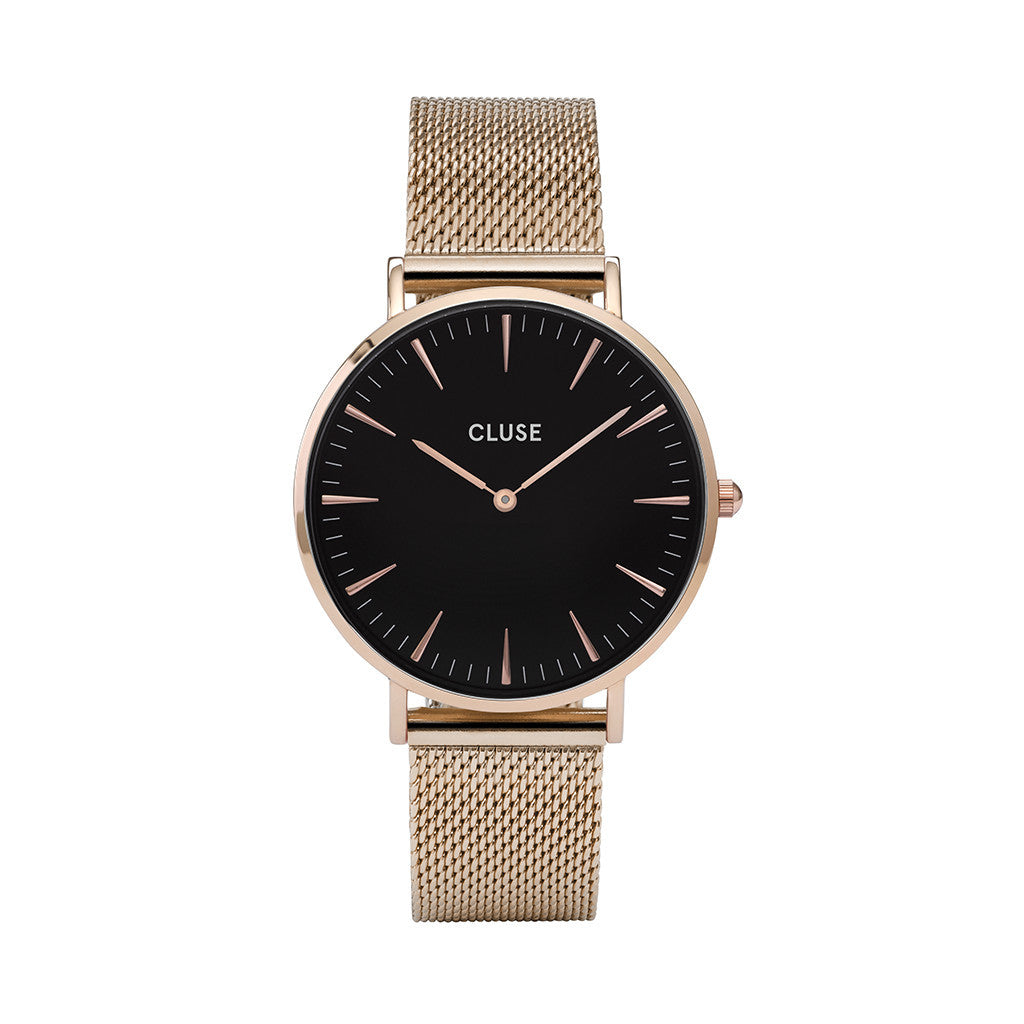 Cluse La Bohème Mesh Rose Gold/Black Watch