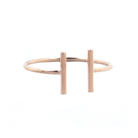 Rose Gold Double Bar Ring