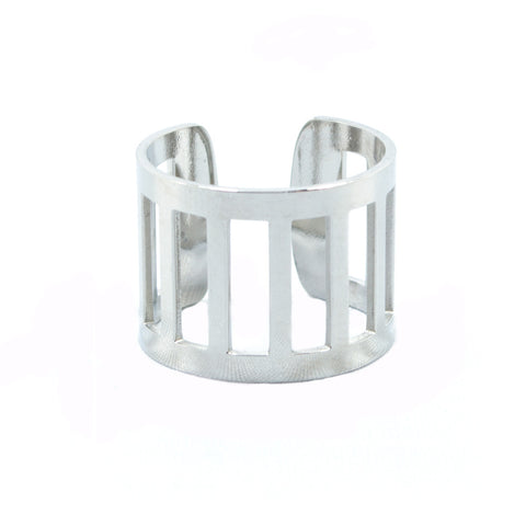 Silver Vertical Bar Ring