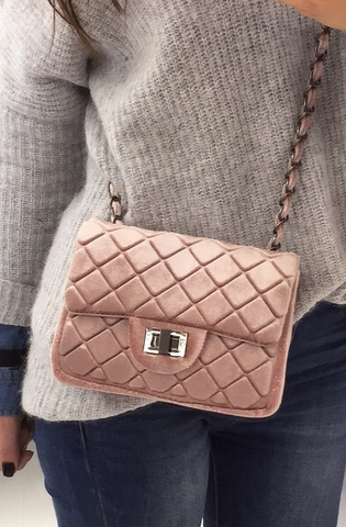 Velvet Quilted Shoulder Bag Pink