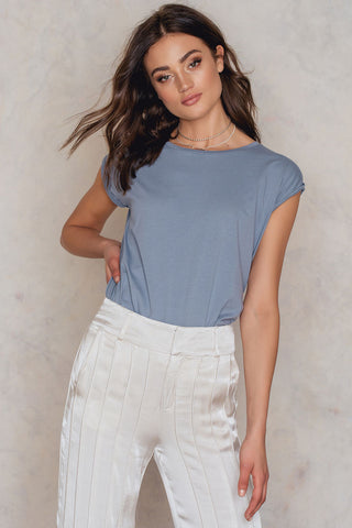 Basic Cap Sleeve Top Dusty Blue NA-KD