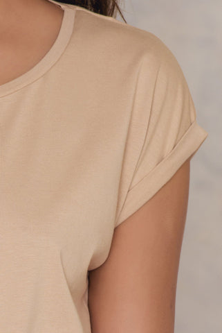 Basic Cap Sleeve Top Beige NA-KD