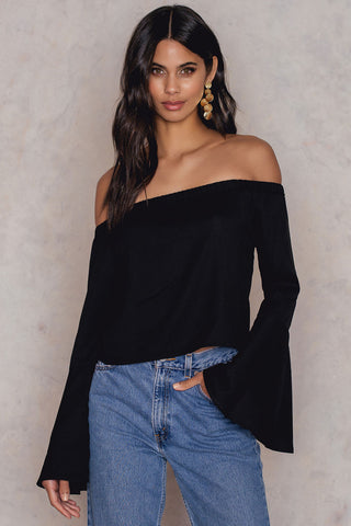 Off Shoulder Woven Wide Sleeve Top Black NA-KD