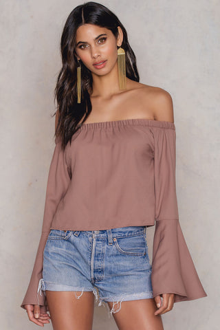 Off Shoulder Woven Wide Sleeve Top Dusty Pink NA-KD
