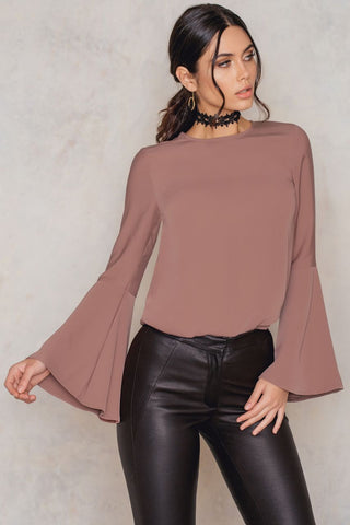 Plain Trumpet Sleeve Blouse Dusty Dark Pink NA-KD