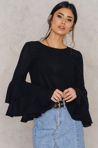 Triple Layer Flounce Blouse Black NA-KD