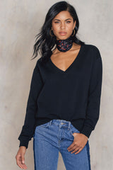 V-Neck Basic Sweater Black NA-KD