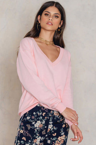 V-Neck Basic Sweater Pink NA-KD