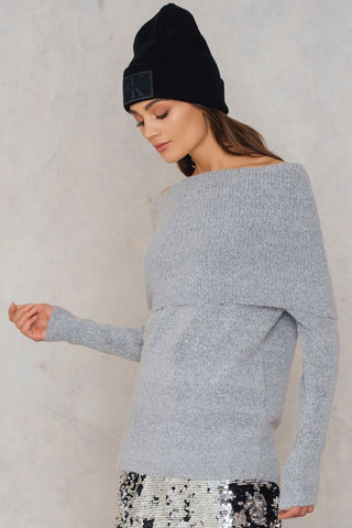 Vera Big Neck Knit Light Grey Melange