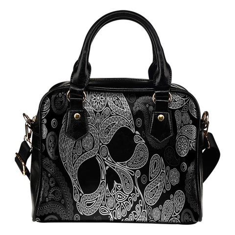 Black Skull Leather Shoulder Hangbag